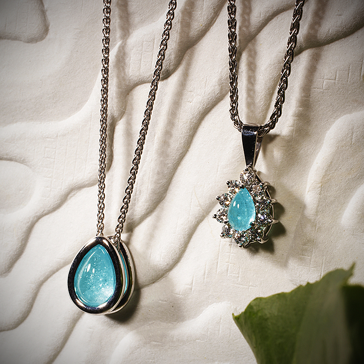 Tourmaline william a weidinger paraiba tourmaline pendants in white gold and in platinum with diamonds aloadofball Image collections